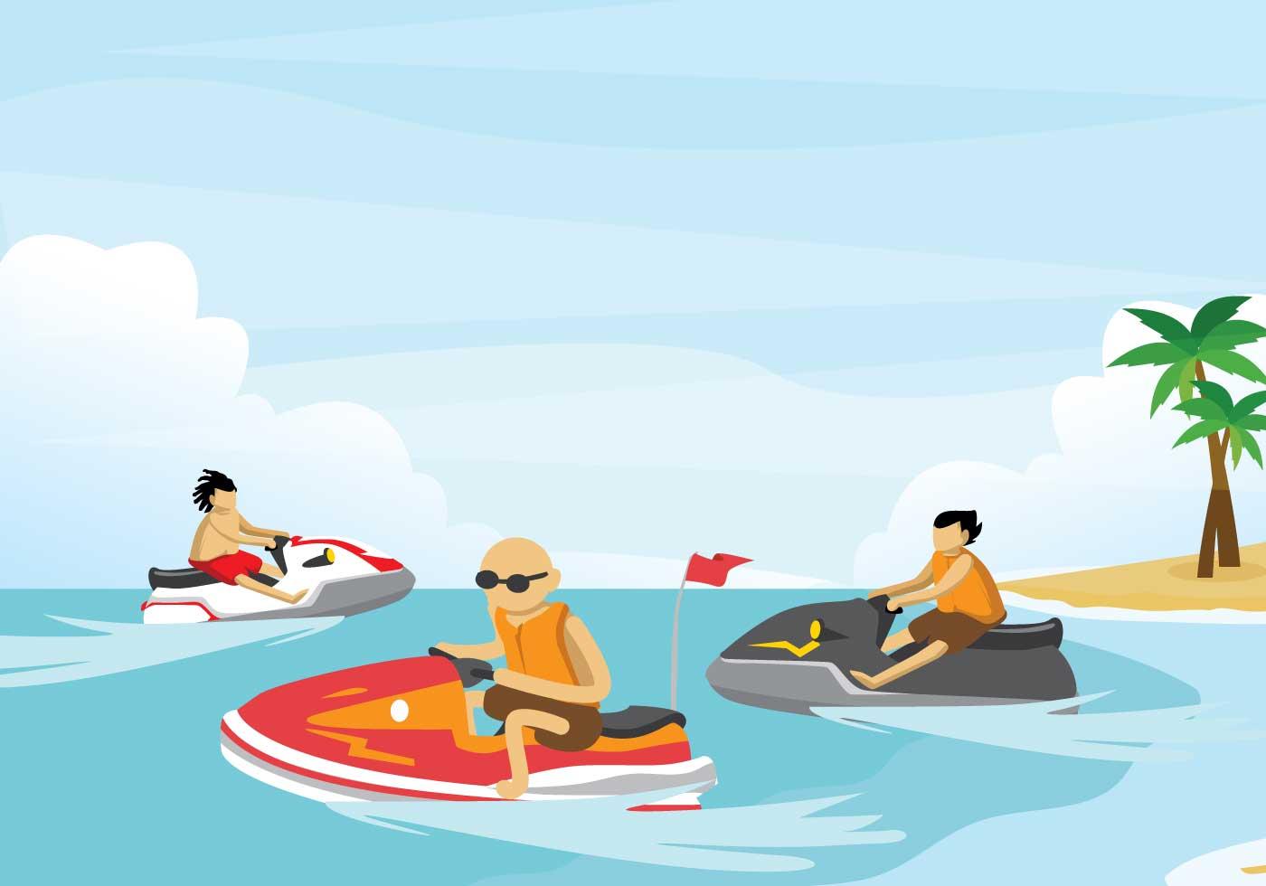 Free jet ski illustration download free vector art stock graphics images - Jet ski dessin ...