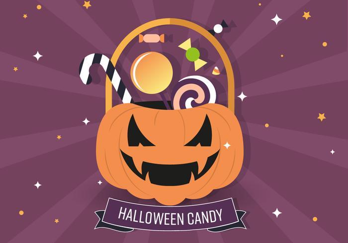 Jack-o-lantern Candy Bag Vector Illustration