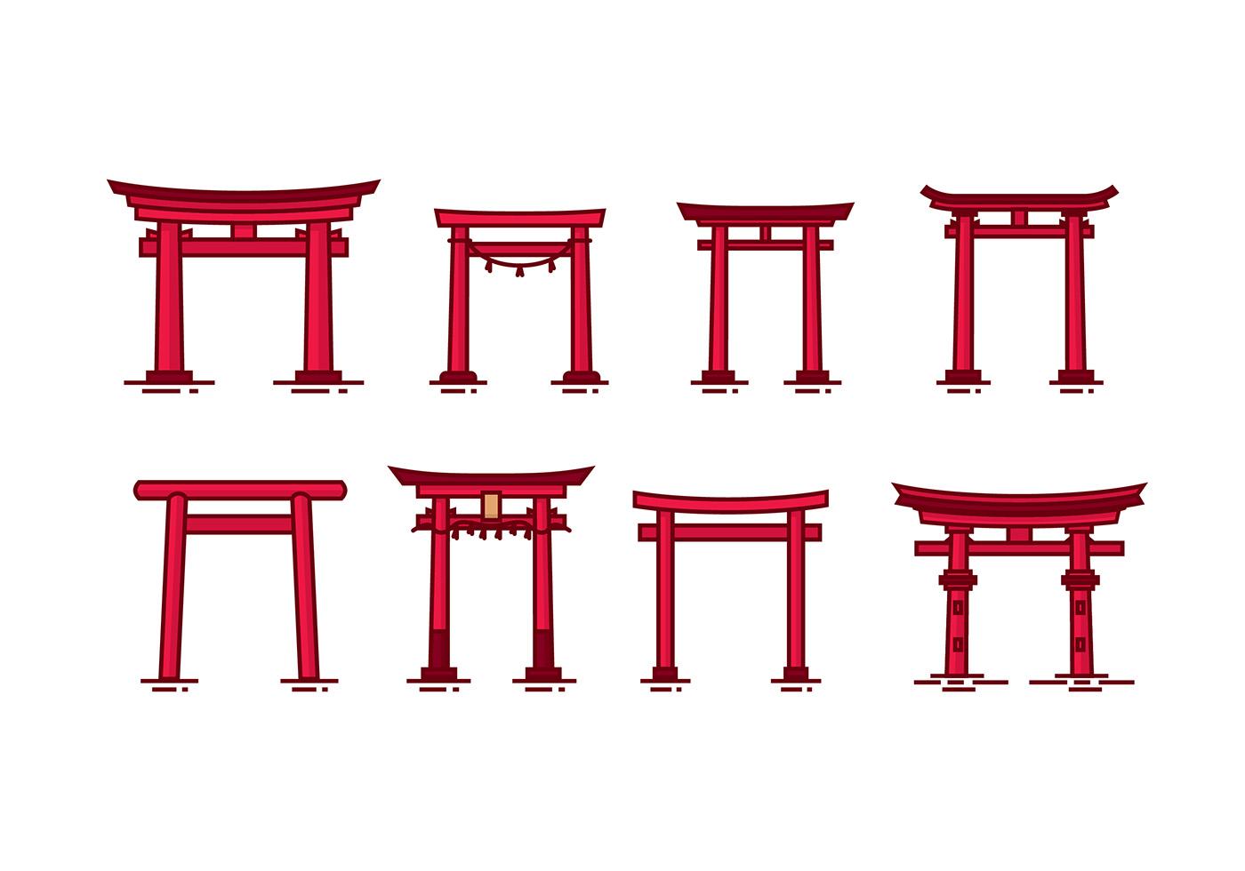 Torii Vector - Download Free Vector Art, Stock Graphics ...