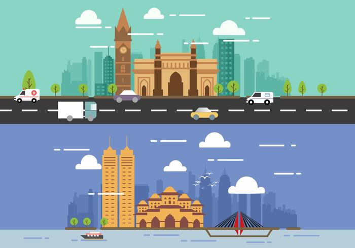 Mumbai City Vector Flat Designs
