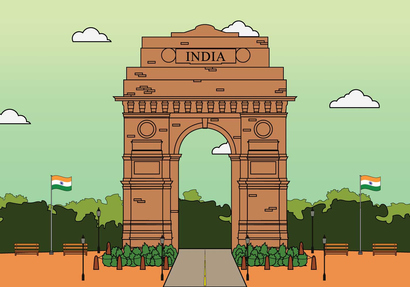 Line Drawing Of Qutub Minar : Free india gate illustration download vector art