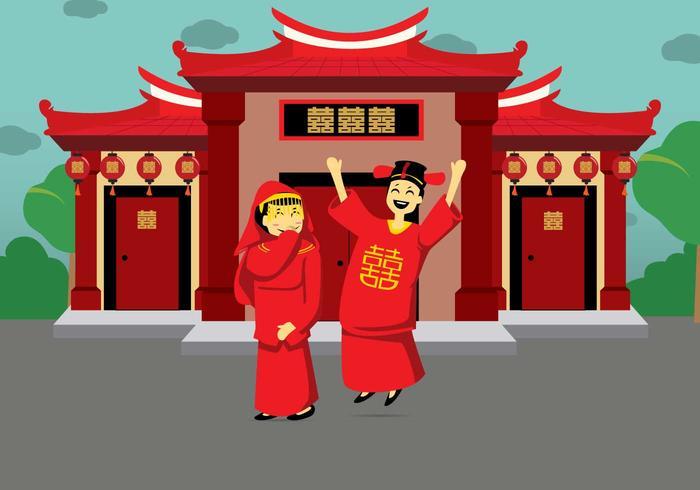 Free Chinese Wedding Illustration vector
