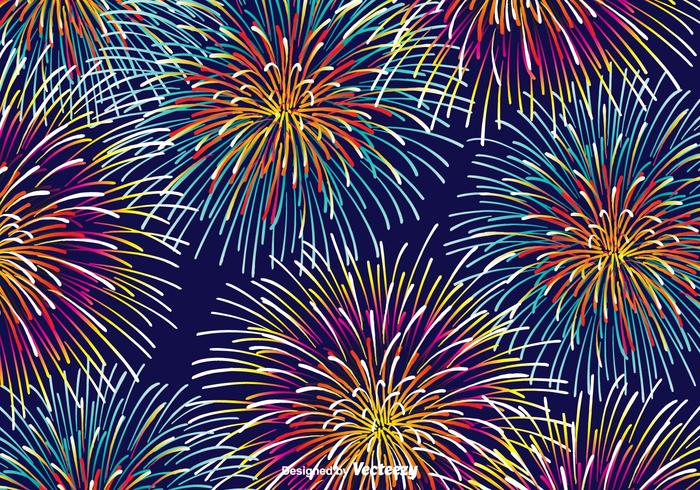 Colorful Fireworks Vector Background