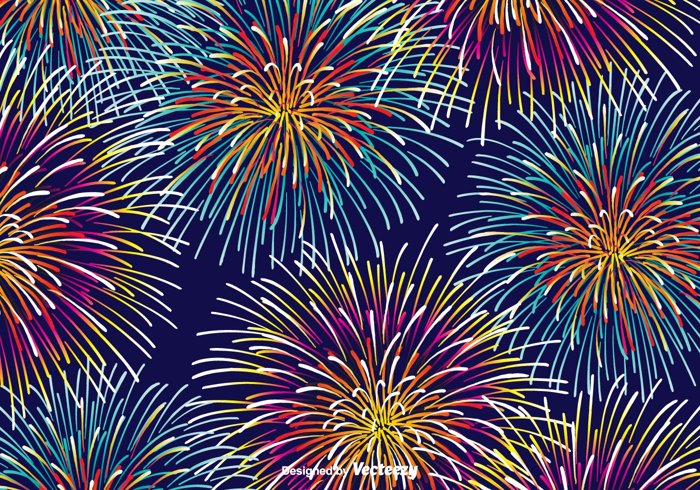 Fireworks Wallpaper Free: Colorful Fireworks Vector Background