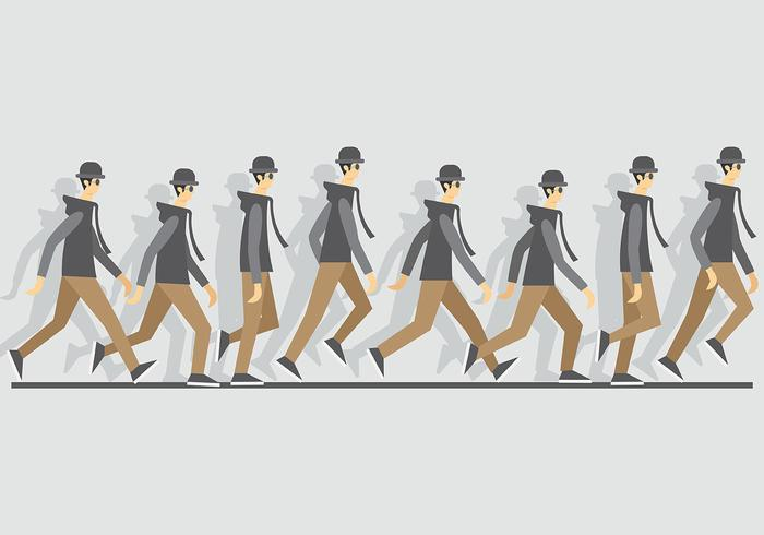 Walk Cycle Icons Vector