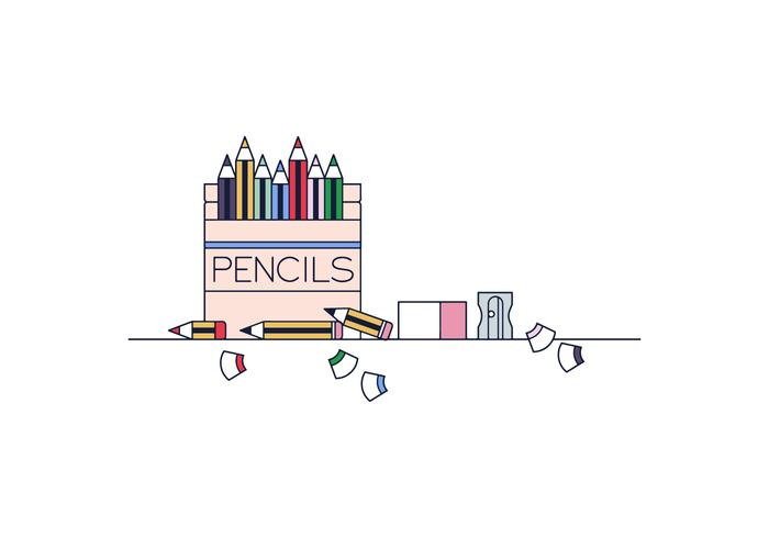 Free Pencils Box Vector