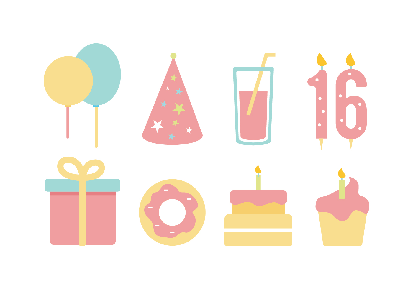 Free Birthday Flat Icon Set - Download Free Vector Art ...