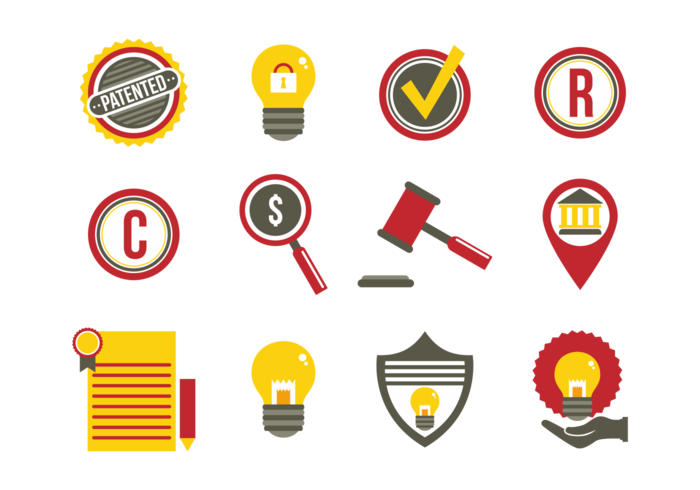 Patent Idea Protection Flat Icons