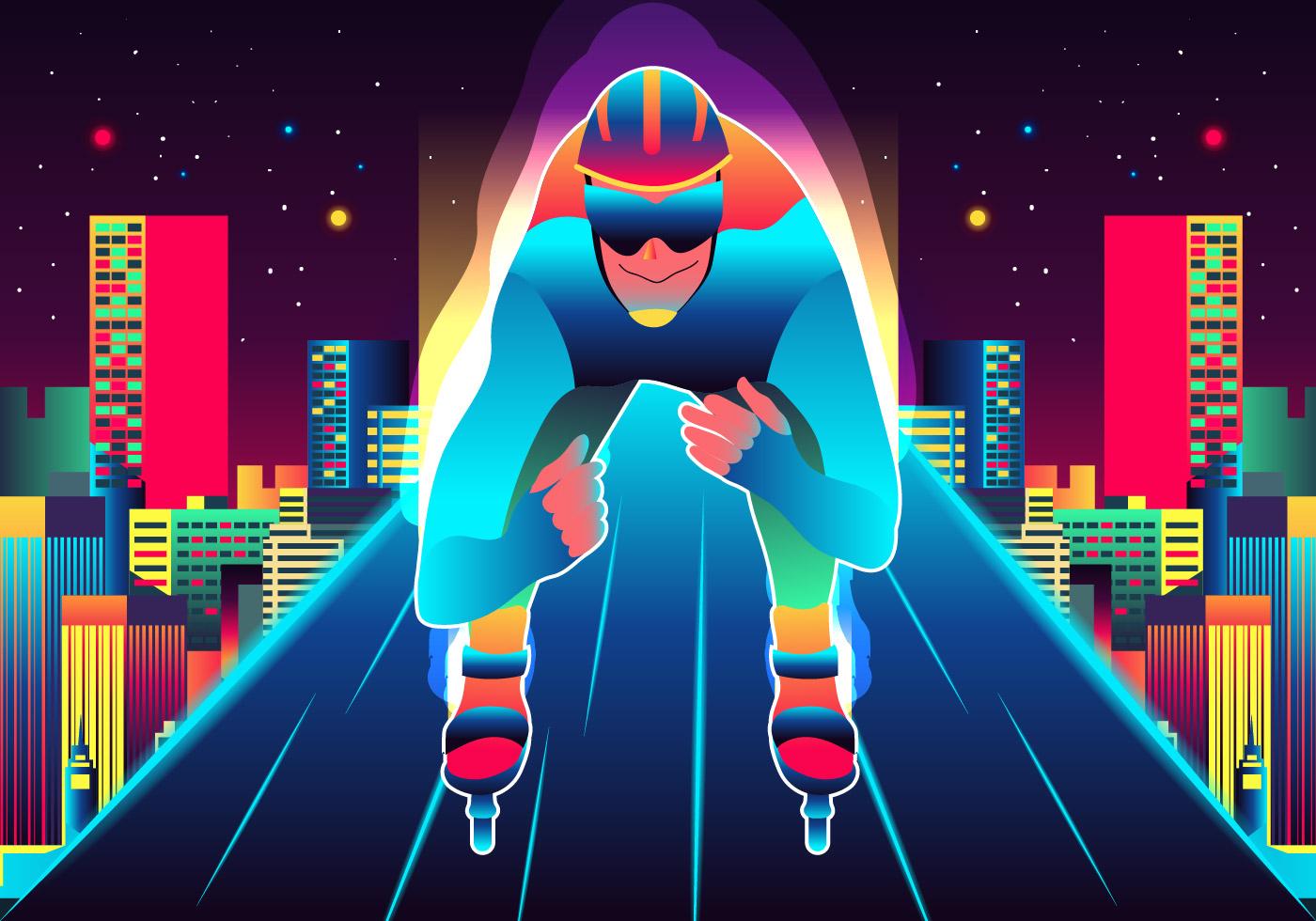 Man Skating On Roller Blade Download Free Vectors