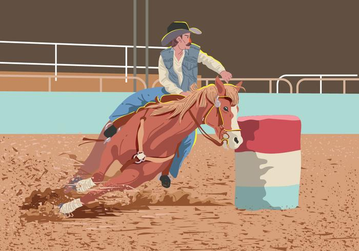 Vector Man On Barrel Racing