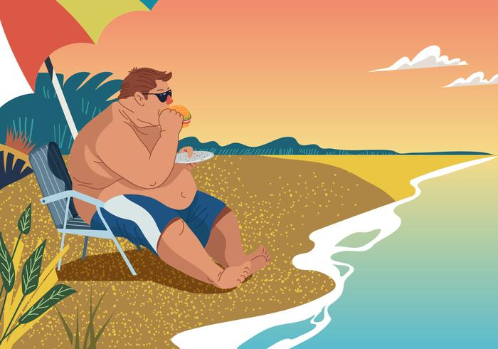 Vector Fat Guy Eating At The Beach
