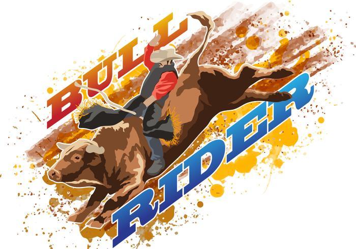 Bull Rider Riding Wild Bull vector