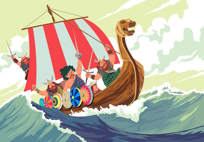 Viking Ship In The Middle A Storm Vector