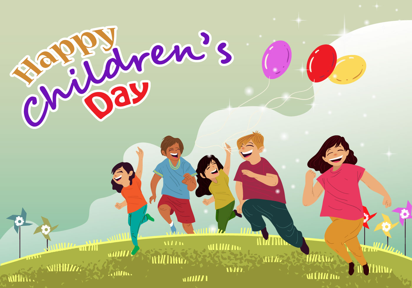 childrens day card vector