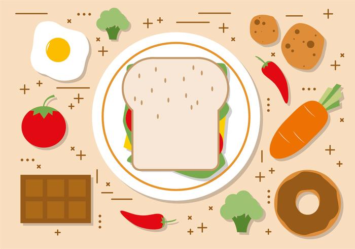 Free Flat Sandwhich Vector Illustration