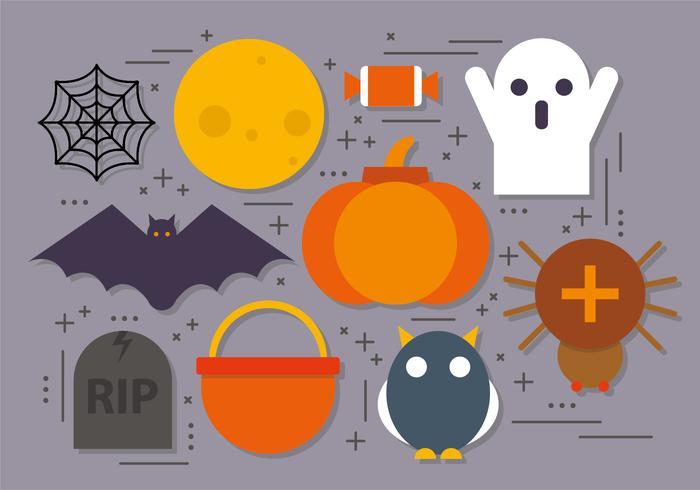 Ícones de Halloween de vetor plano