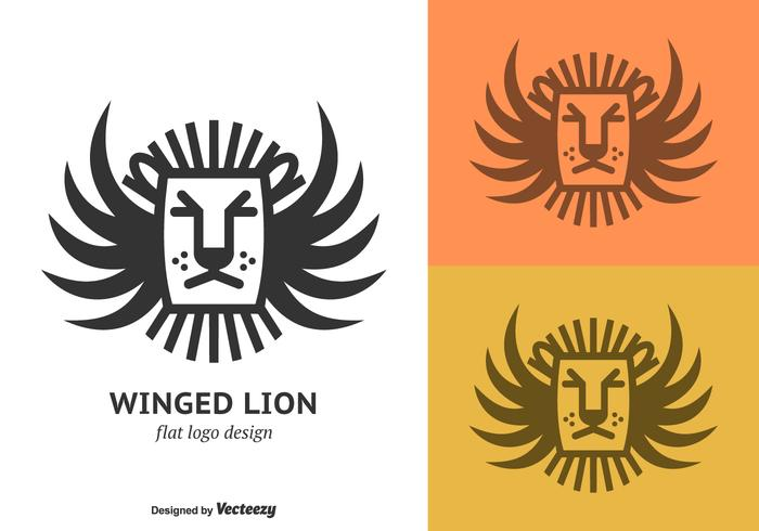 Free Flat Winged Lion Vector Logotipo