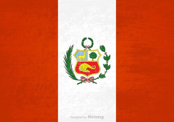 Gratis Vektor Grunge Peru Flagga