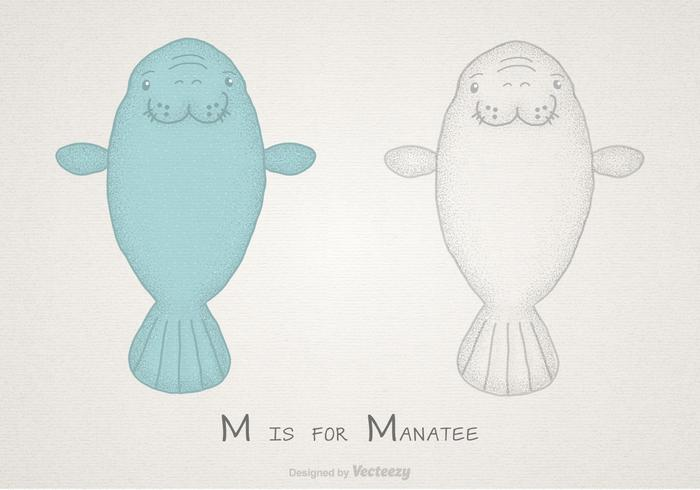 Manatee Free Hand Drawn Vector