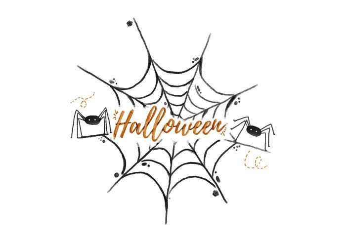 Vecteur d'aquarelle halloween d'araignée Web
