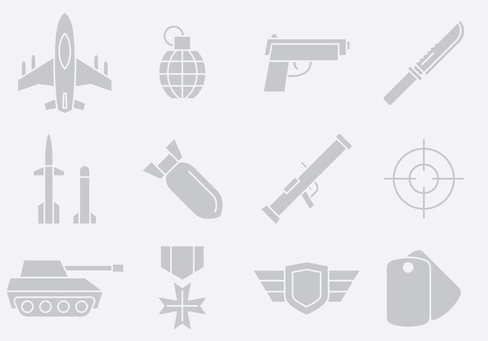 Gray Weapon And Army Icons