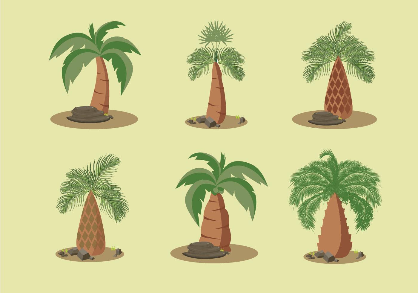 Vector Illustration Tree: Palm Oil Trees Vector Illustration