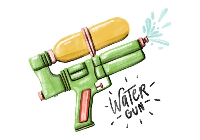 Free Water Gun Watercolor Vector
