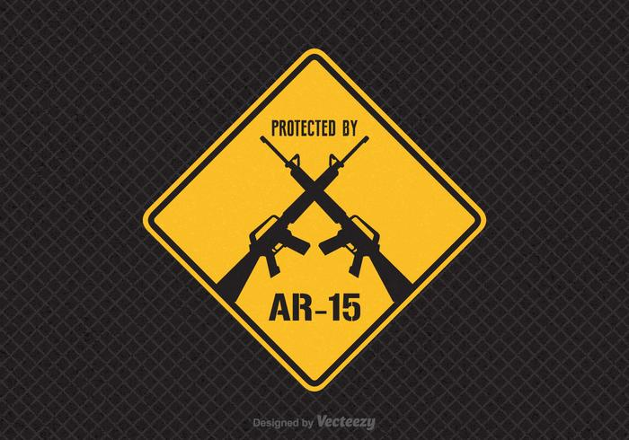Free Protected By AR-15 Vector Sign