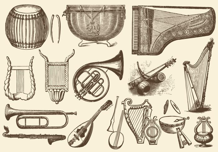 Vintage Orchestra Music Instruments vector