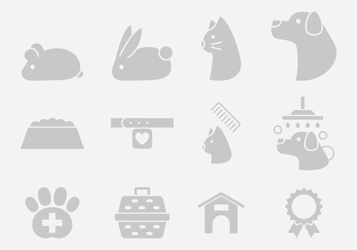 Gray Pet Care Icons