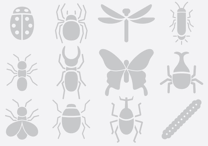 Gray Insect Icons vector