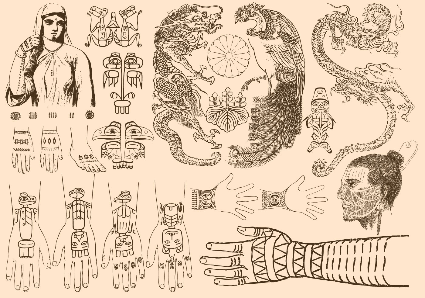 ancient tattoos download free vector art stock graphics images. Black Bedroom Furniture Sets. Home Design Ideas