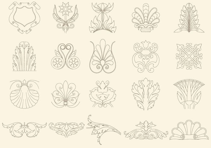 Thin Line Decorations vector