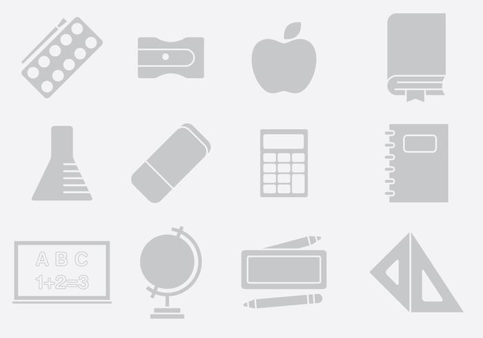 Gray School Stuff Icons
