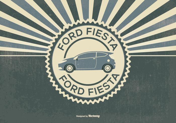 Retro Style Ford Fiesta Illustration