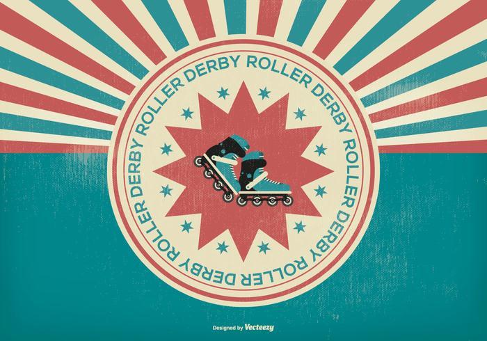 Ilustração Retro Roller Derby vetor
