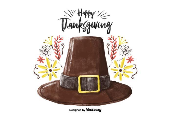 Decorative Thanksgiving Hat Watercolor Vector