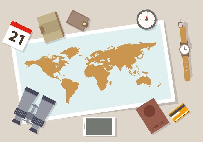 Free Flat Travel Vektor-Illustration