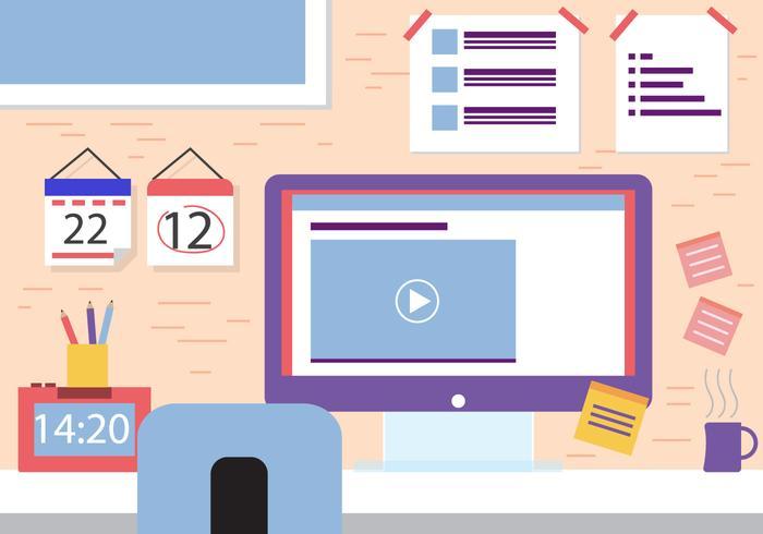 Free Flat Design Vector Office Room Design