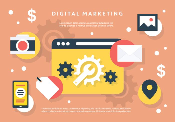 Set van Flat Digital Marketing Vectors