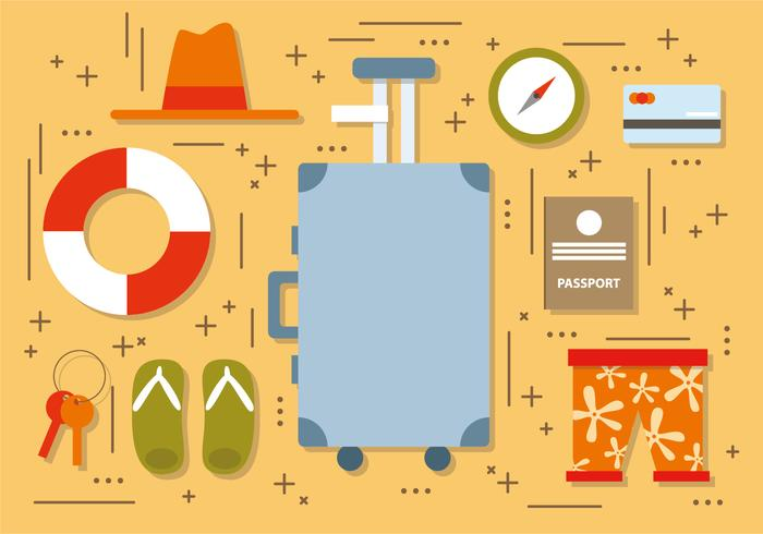 Flat Summer Travel Elements Vector