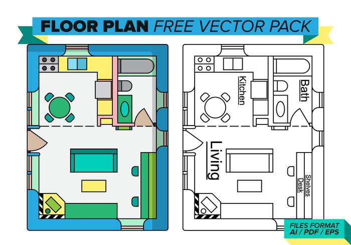 Ensemble vectoriel gratuit Floorplan