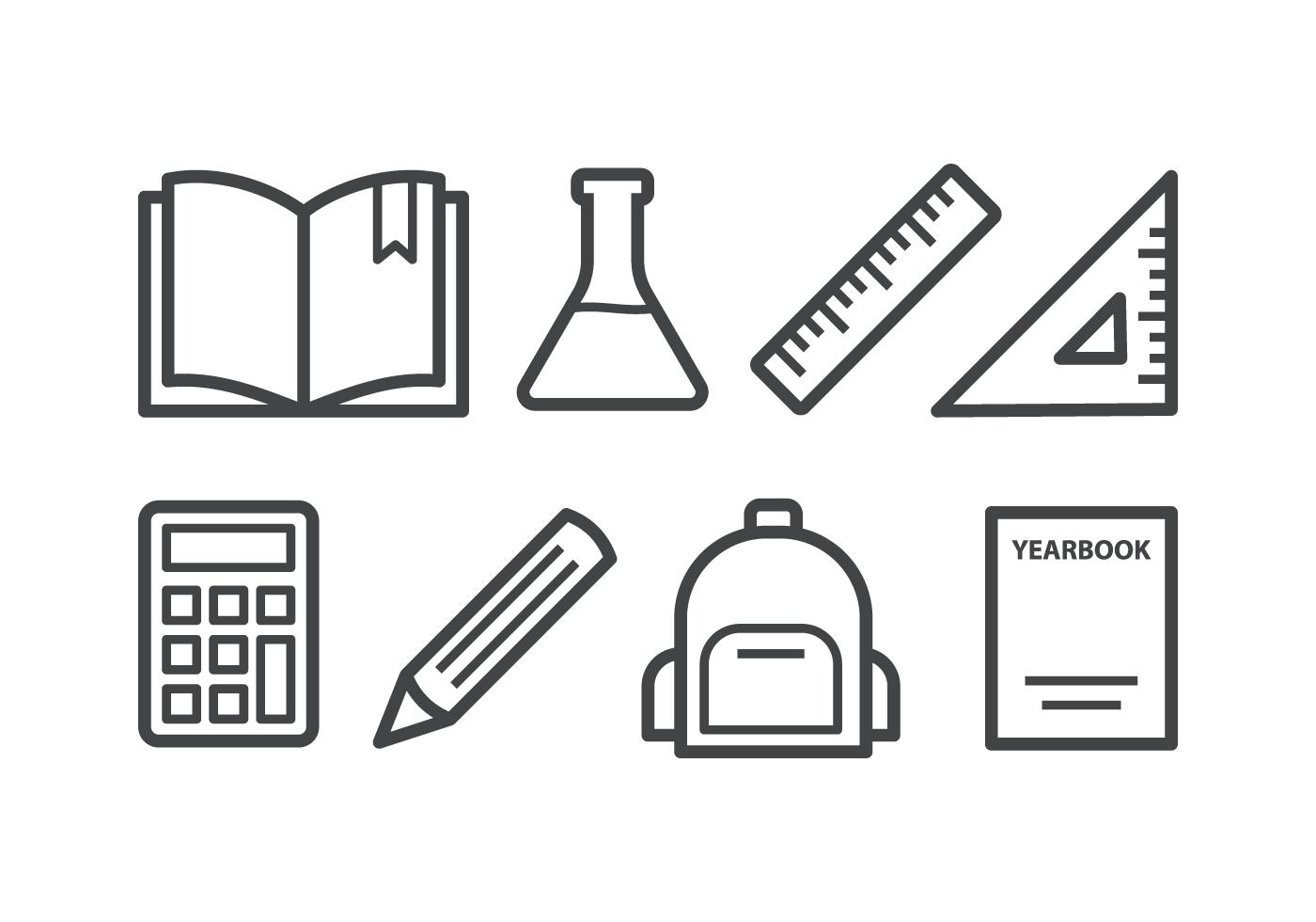 School Icon Set Download Free Vector Art Stock Graphics