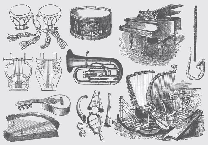 Vintage Music Instruments vector