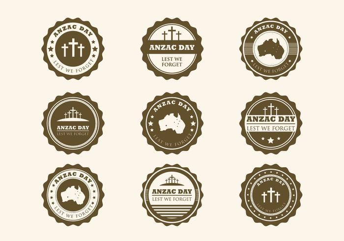 Anzac vintage badges vecteur