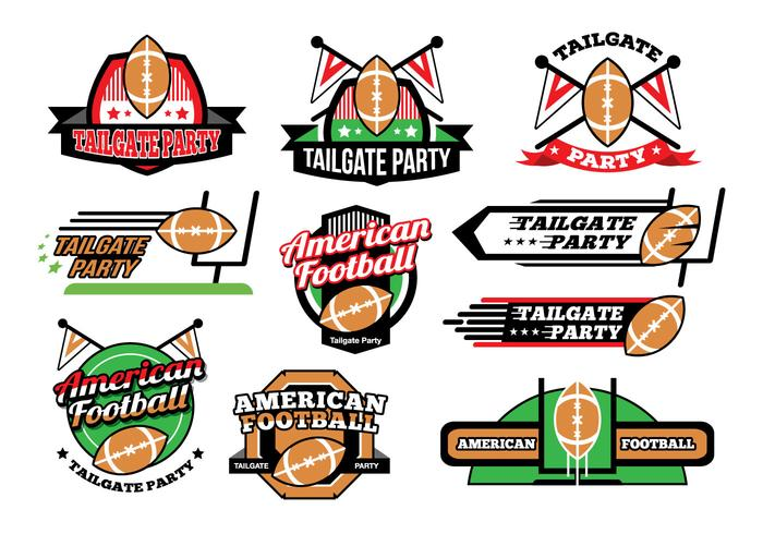 American Football Tailgate Party Sticker Vectors