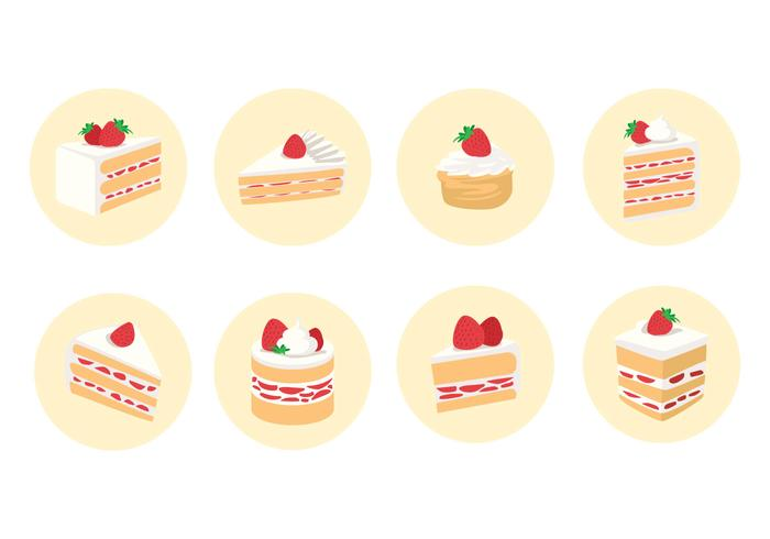 Rodajas de Strawberry Shortcake Vector