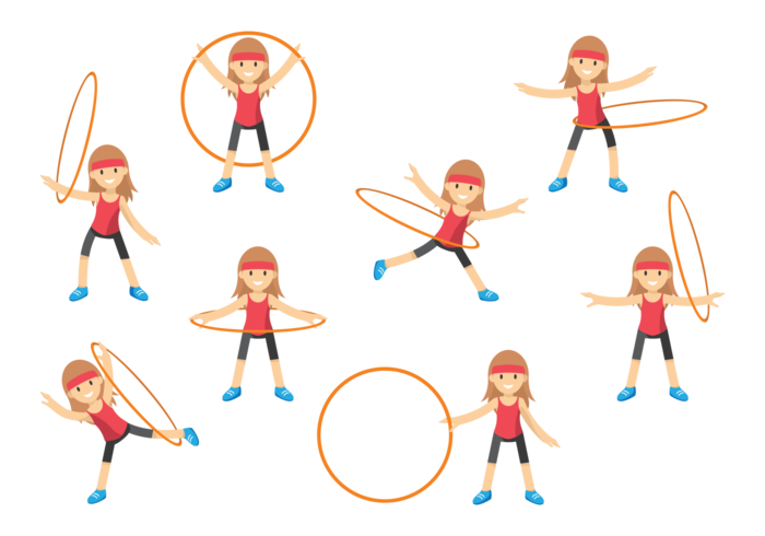 Cute Girl with Hula Hoop vector
