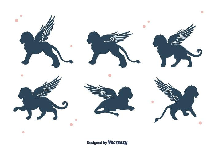 Winged Lion Silhouette Vector