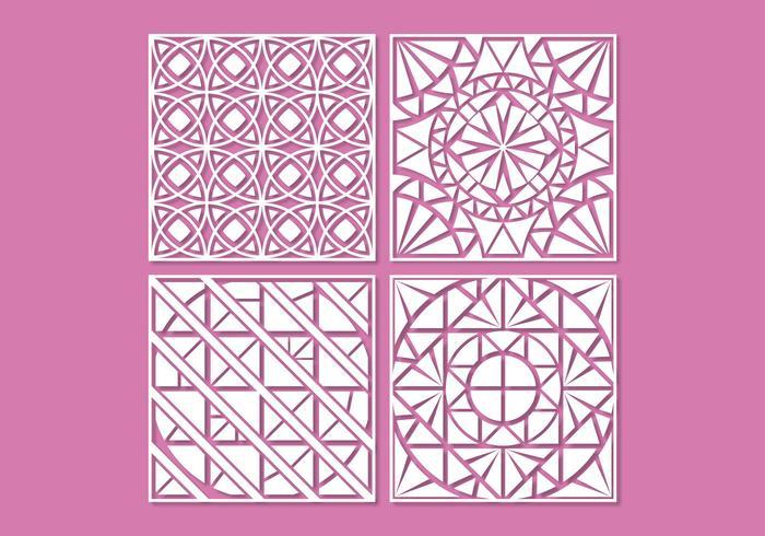 Vetores de ornamentos de corte laser com geometria branca